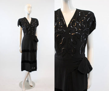 1940s sequin dress | vintage rayon crepe | small