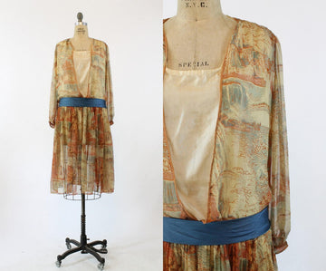 1920s RARE mallinson silk dress | niagara falls novelty print small medium