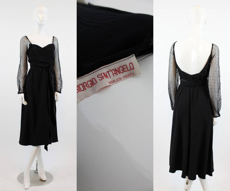 1980s Giorgio Sant'Angelo dress | wrap mesh disco dress | small - medium