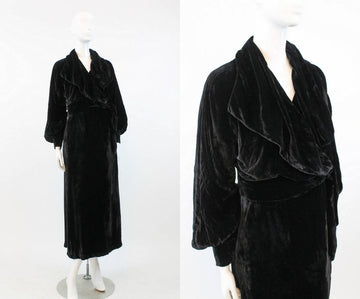 Edwardian 1920s velvet wrap dress small | HUGE collar and SLEEVES | new in