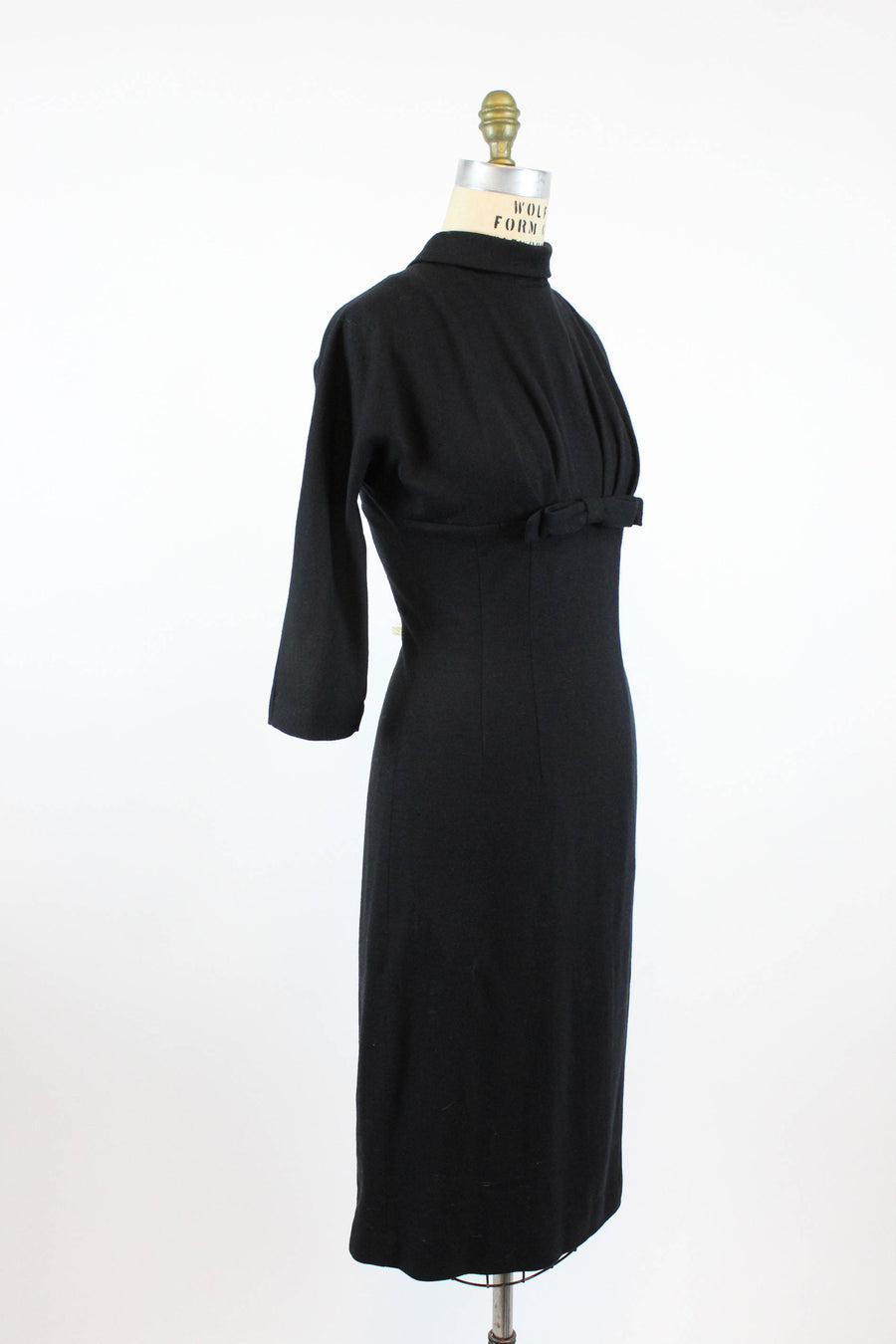 1950s wiggle dress empire waist small | vintage fitted wool dress