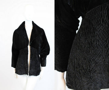 1920s silk velvet coat | ruched jacket | small - medium