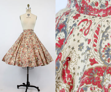 1950s circle skirt sequins | cotton batik | xs