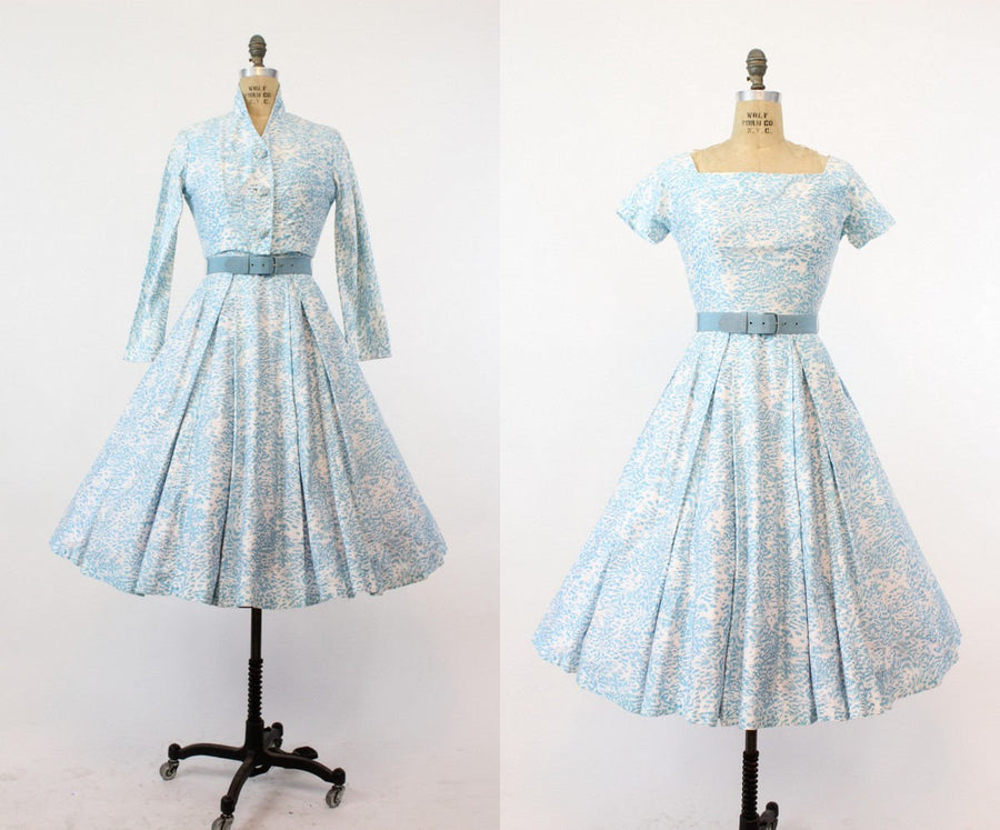 1960s Polly Peck cotton dress and jacket xs | vintage full skirt | new in