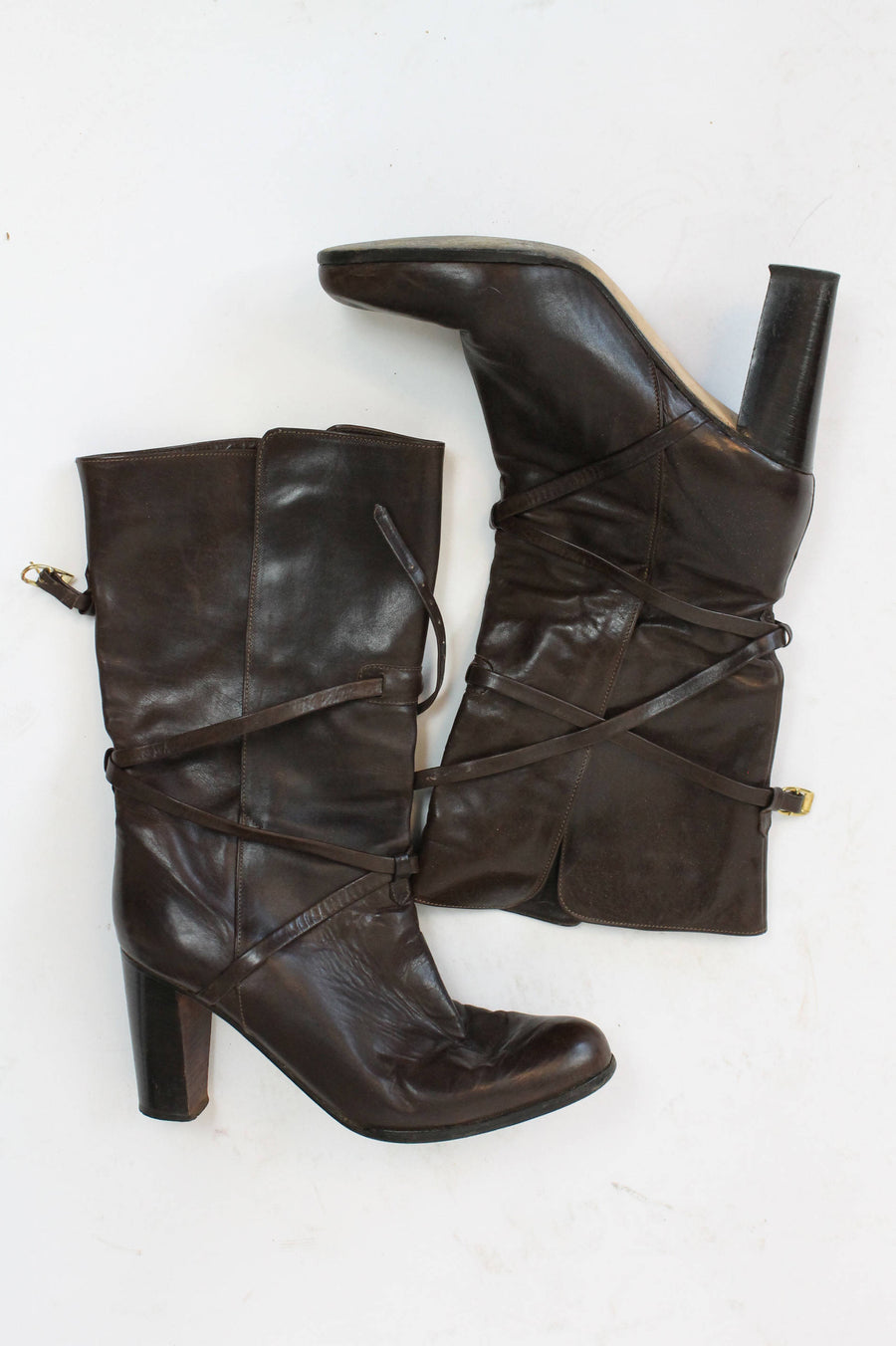 1980s strappy leather boots size 8.5 us | ankle boots Italian made