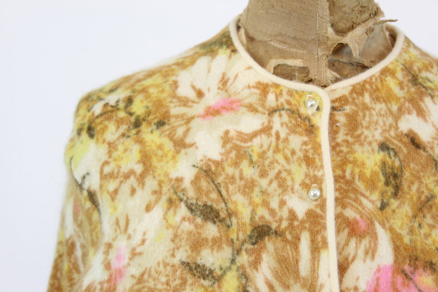 1950s Darlene cardigan small medium | vintage floral hand screened sweater