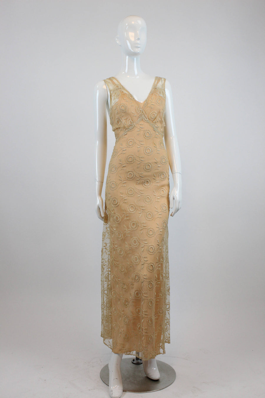 1930s tambour lace dress three pieces xs | vintage embroidered wedding dress gown
