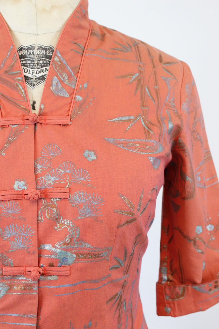 1950s Alfred Shaheen bamboo crane tunic medium | vintage cotton metallic jacket