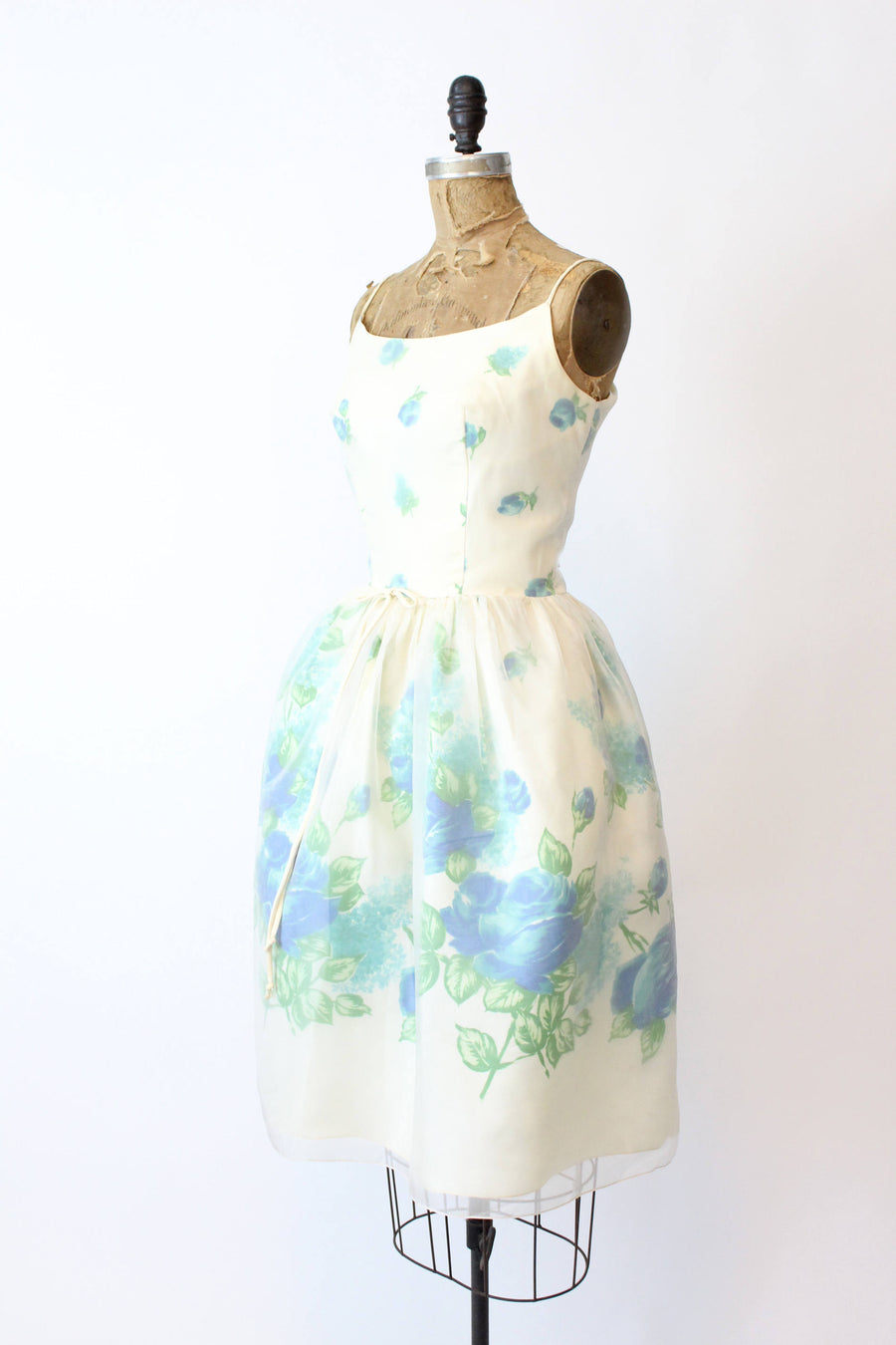 1950s blue roses dress | vintage organza cocktail dress | xs