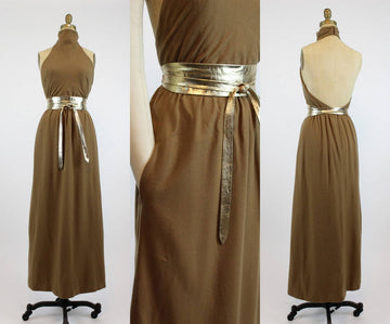 1970s luxe cashmere halter dress xs | vintage open back gown | new in
