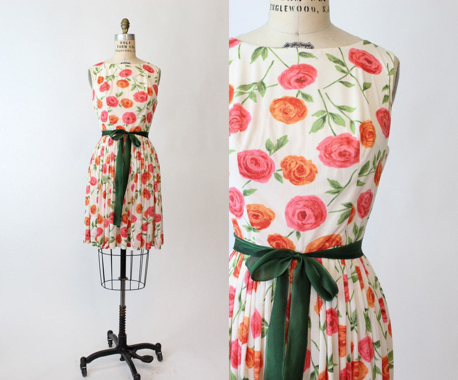 1960s rose print dress small | vintage floral dress