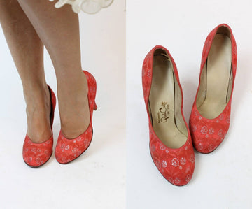 1950s brocade shoes size 6 us | vintage rose babydoll pumps | new in