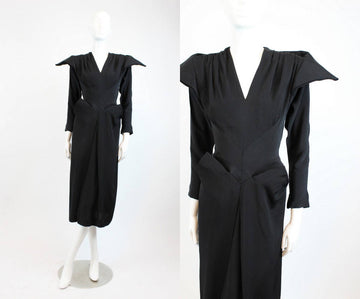 1940s RARE dress Dorothy O'Hara  | peaked shoulders draped skirt xs