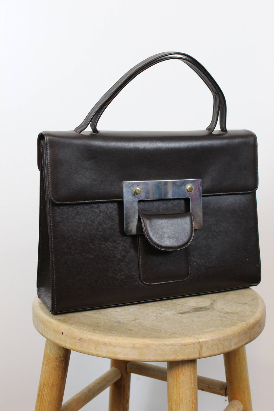 60s Leather Large Laptop Bag  / 1960s Leather Briefcase / Buckle Up Bag