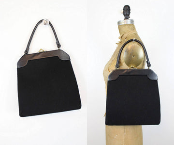 50s Frame Purse / 1950s Wool Shoulderbag / Lewis Purse