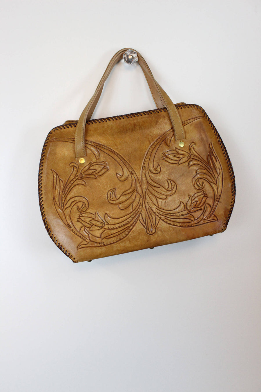 1970s tooled leather bag | carved large frame purse handbag