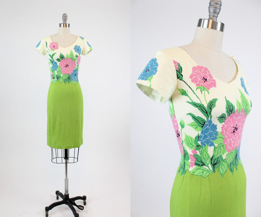1950s floral cotton pique dress | vintage Jeanette Alexander wiggle dress | xxs