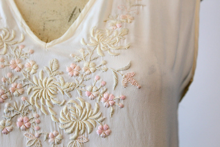 1940s pajamas top and pants small medium | vintage embroidered lingerie
