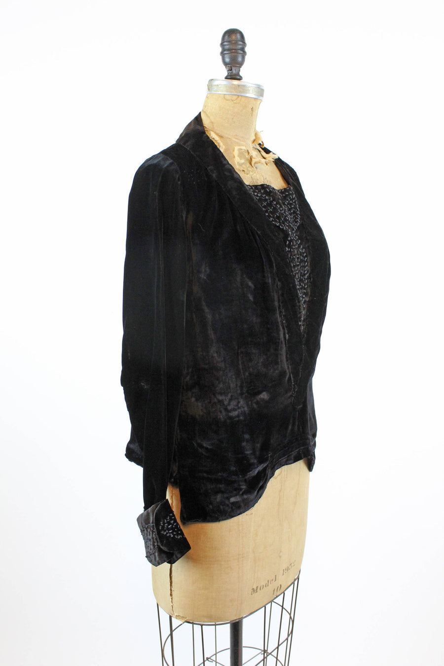 1920s embroidered velvet blouse medium | antique tunic top