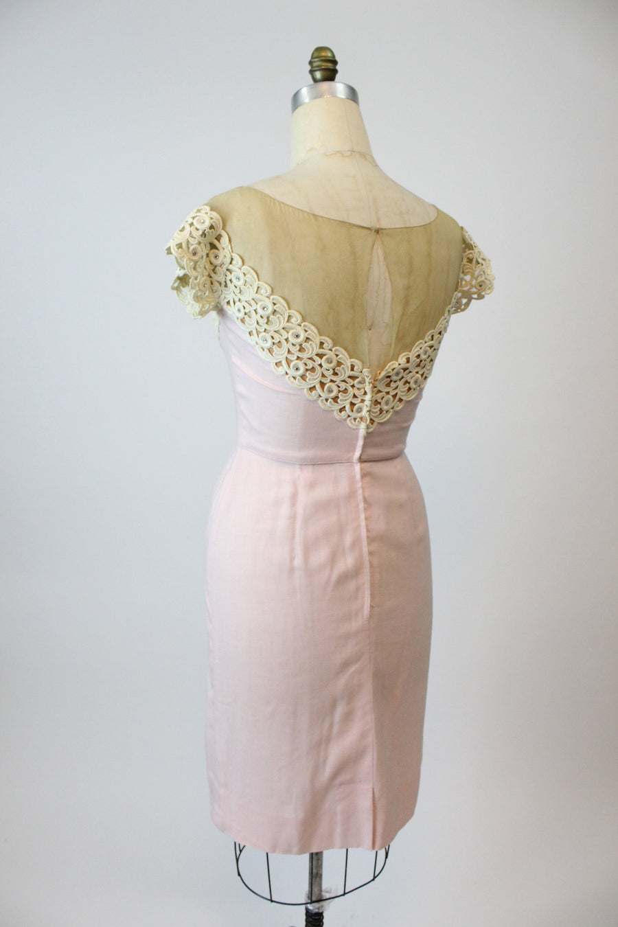 1950s Peggy Hunt dress | linen lace illusion neckline | medium