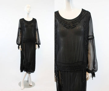 1920s beaded dress small medium | antique silk flapper dress