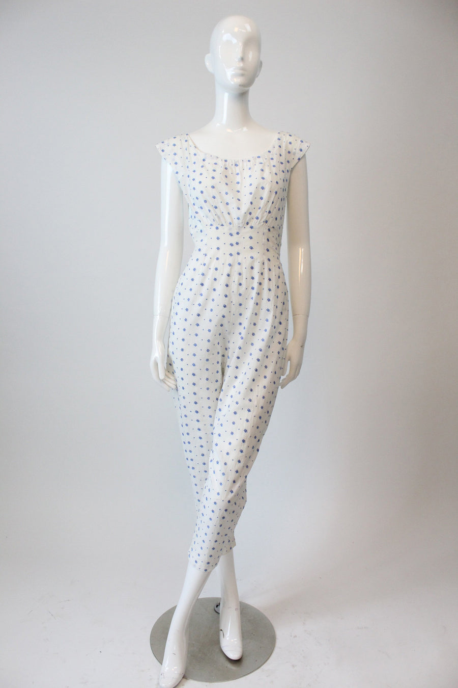 1950s floral cotton jumpsuit xs small | vintage romper