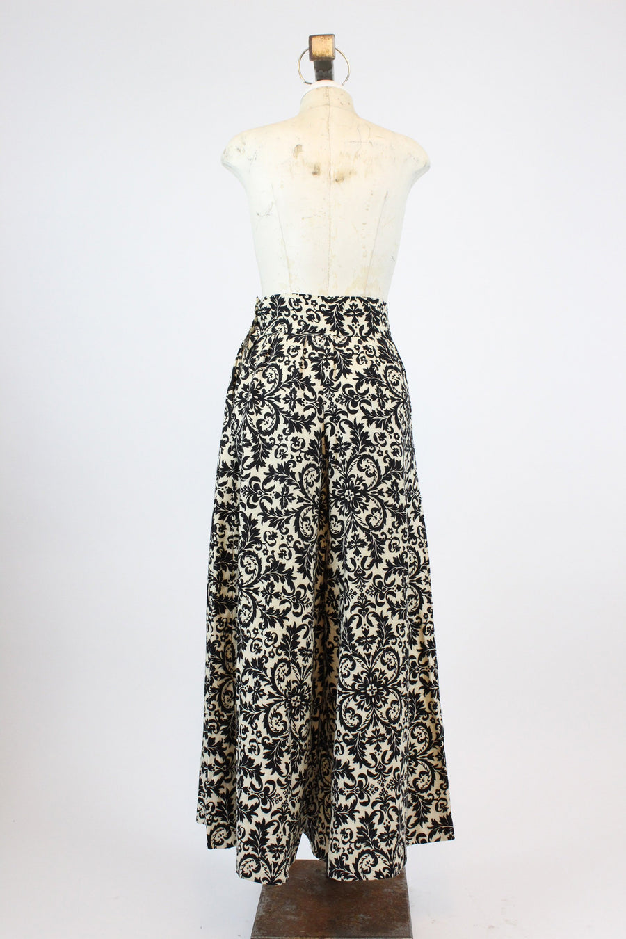 1960s palazzo pants small | vintage wide leg cotton pants