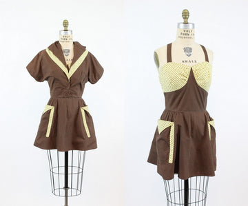 1940s two piece playsuit dress | vintage swimdress jacket | small