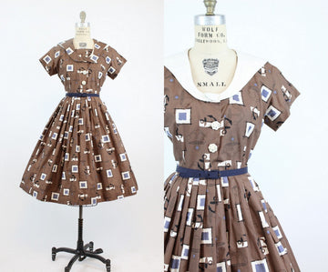1950s anchor print shirtwaist dress medium | vintage novelty print convertible cotton dress