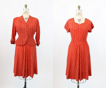1940s novelty print dress and matching jacket medium | vintage spades arrows print | new in