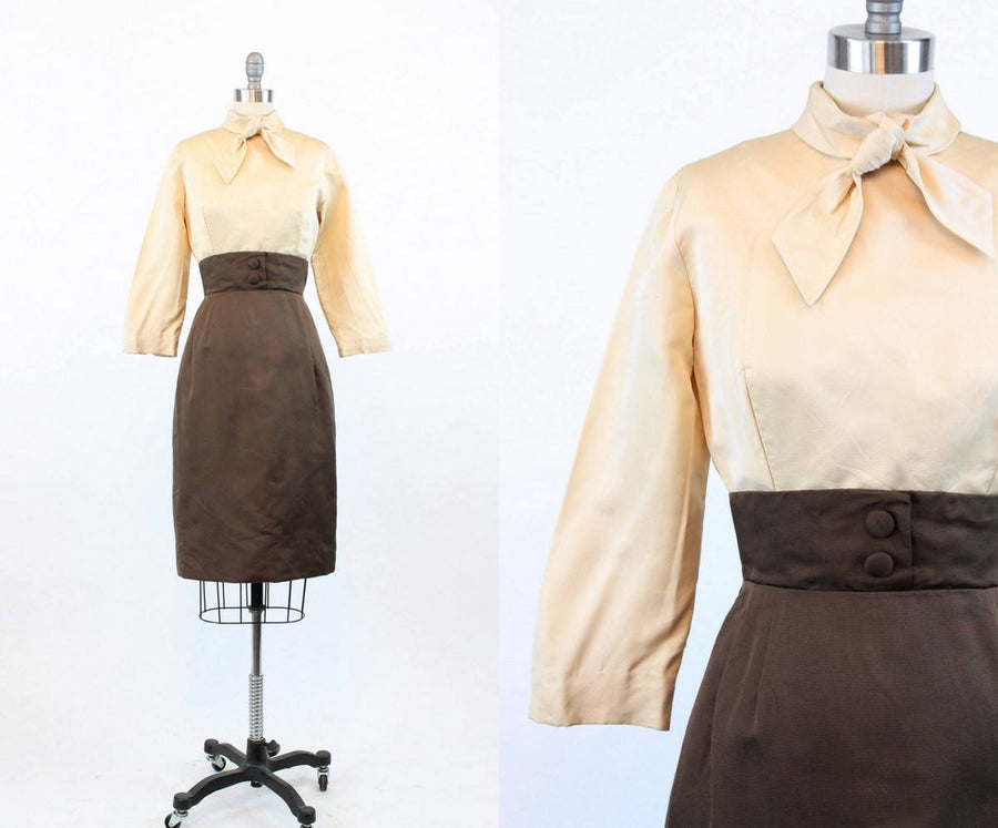 1950s Saks Fifth Avenue dress | vintage wiggle silk faille | small