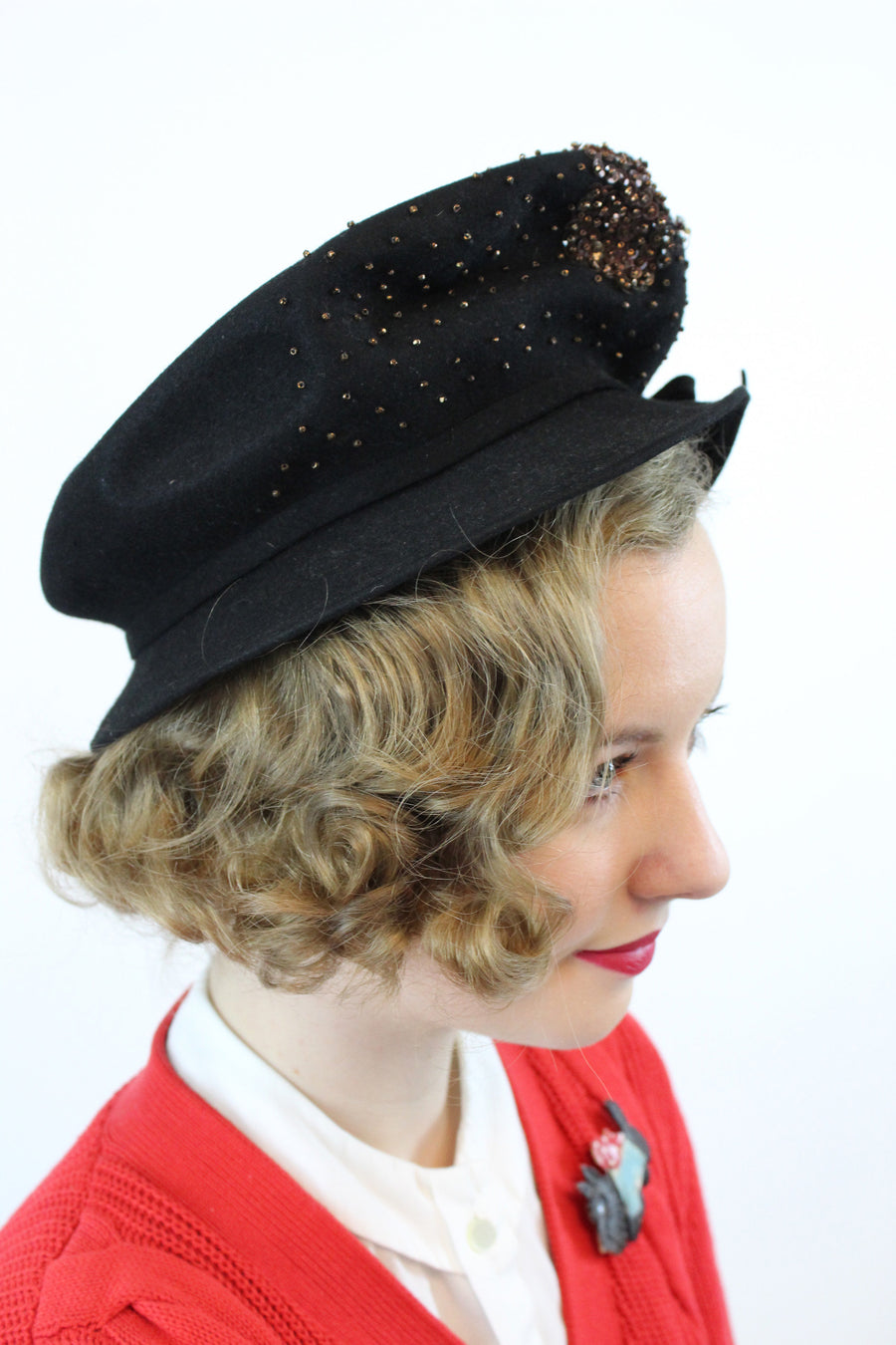 1940s conductor hat | beaded cap | wool fedora