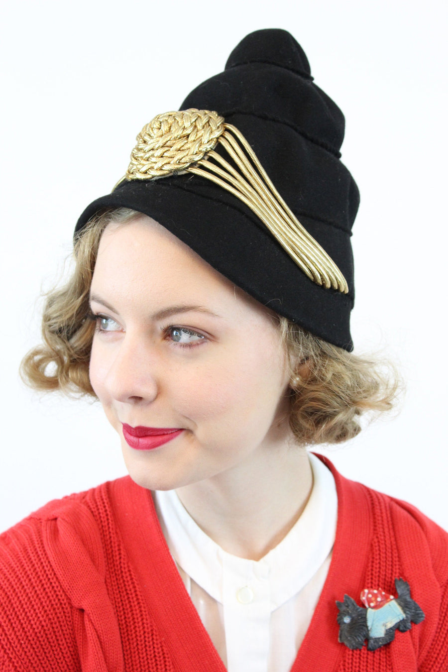 1940s turban hat | wool gold bullion | high profile