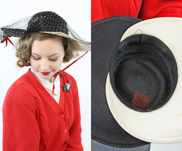 1940s bi color sun hat | vintage picture hat with veil