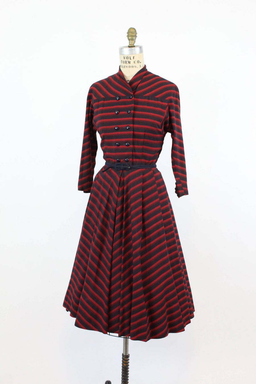 1950s shirtwaist dress | cotton stripe | xs