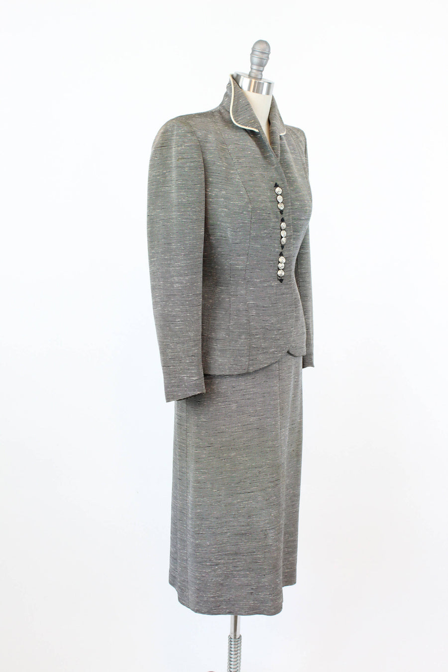 1950's striped suit xxs | fit and flare two piece jacket and skirt | new in