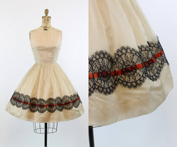 1950s silk organza dress | full skirt tulle | xs