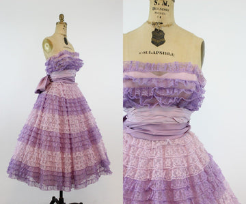 50s Ombre Lace Gown Dress XXS  / 1950s Strapless Cupcake Dress / Secret Love Dress