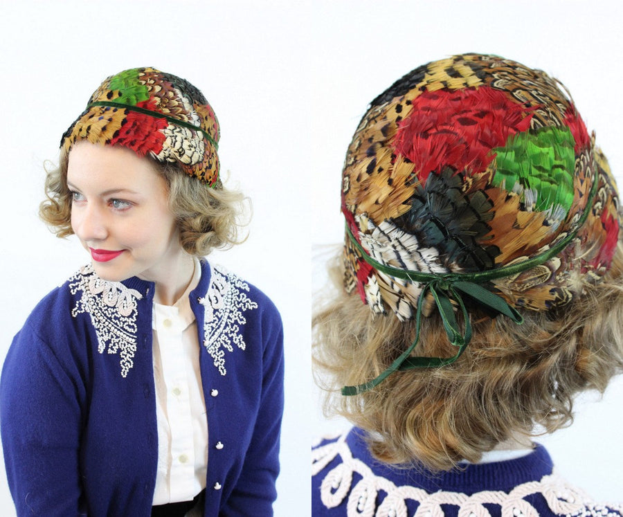 1930s pheasant hat | feather cloche | exotic feathers