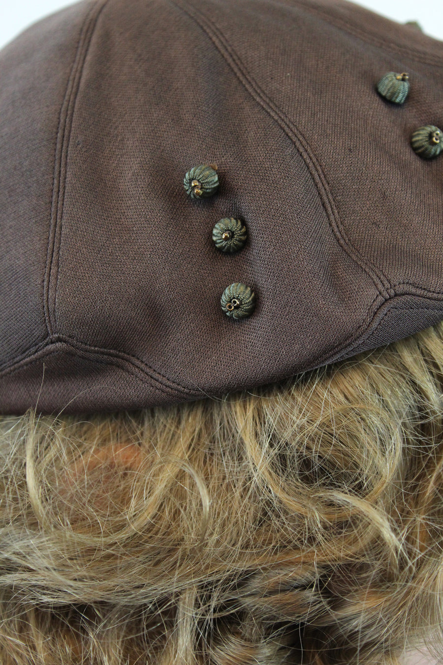1950s beret | pancake cap | beaded hat
