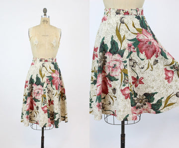 1950s barkcloth skirt | rose hibiscus a line | small