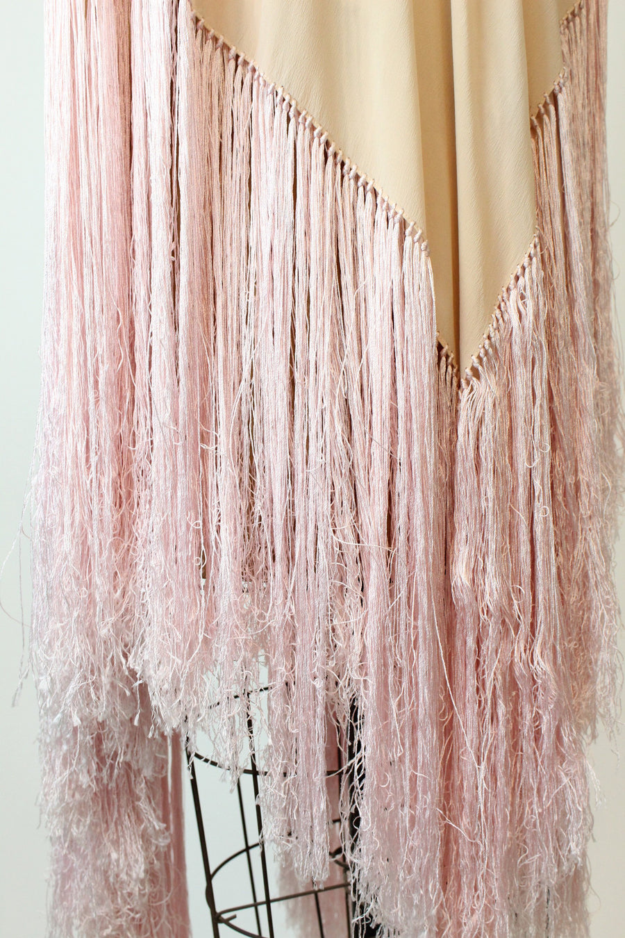 1940s silk fringed piano scarf | vintage wrap shawl