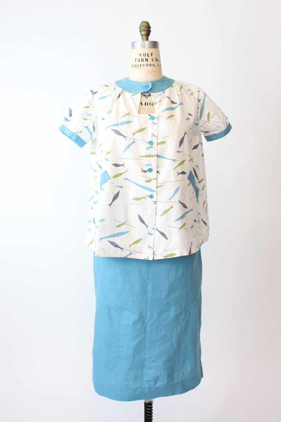 1950s maternity novelty print top and skirt large | vintage fish print