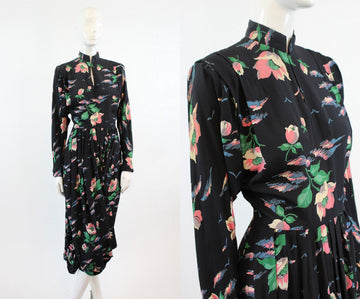 1940s rose print rayon dress xs | vintage floral print dress