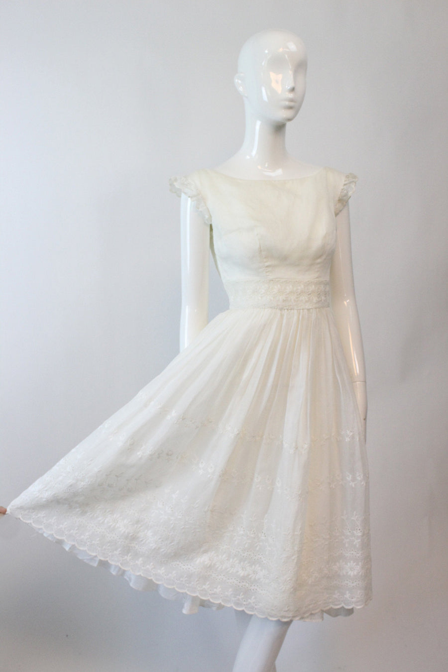 1950s organza eyelet dress xxs  | vintage full skirt dress | new in