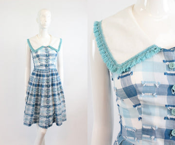 1950s cotton fringe and check dress xxs | vintage sailor collar dress