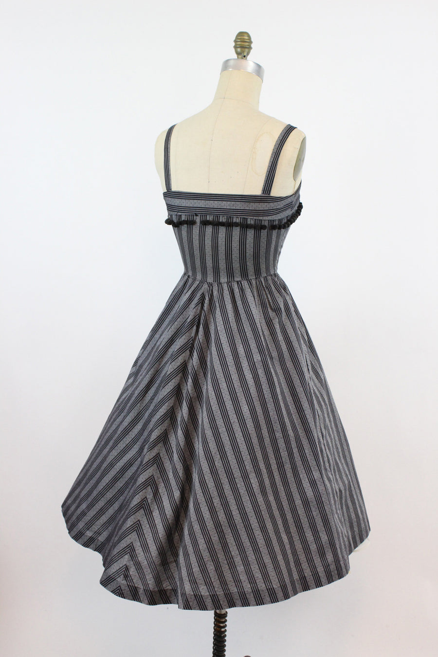 1950s striped sun dress with scarf xs | vintage cotton full skirt | new in