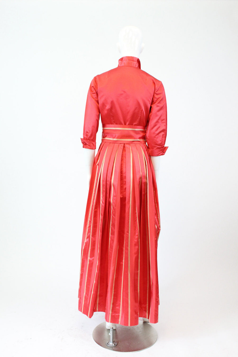 1960s Dynasty silk dressing gown xs | vintage striped belted dress | new in