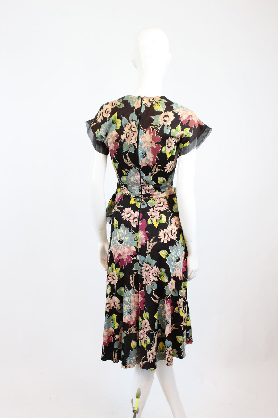 1940s rayon jersey floral dress XS | vintage sheer peplum dress