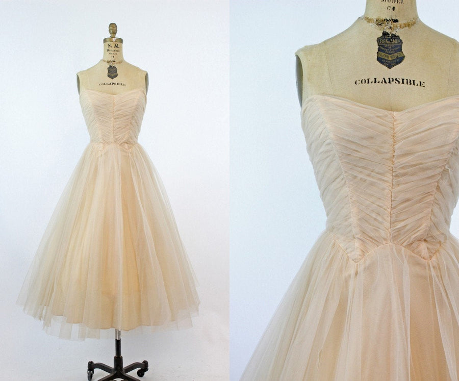 1950s strapless tulle dress xxs | vintage cupcake full skirt | new in